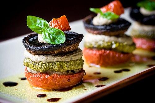 Tomatoes, zucchini, mushrooms and mozzarella