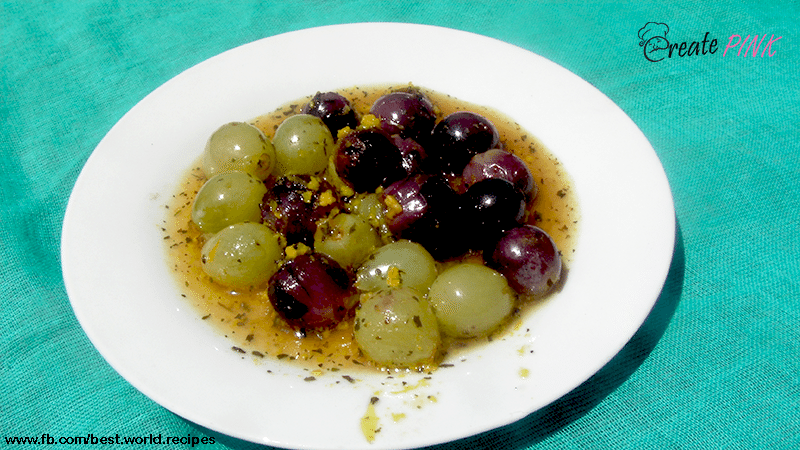 grilled grapes with orange and mint sauce