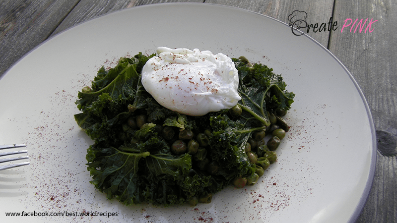 kale and peas with poached egg
