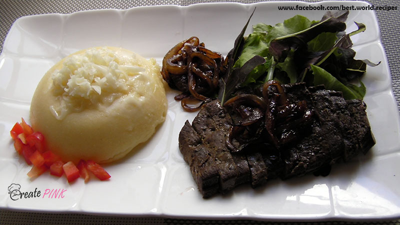 veal liver with polenta and caramelized onions