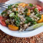 Easy pearl barley and dried apricots salad