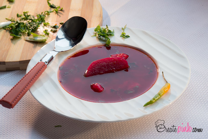 Vegan Beets Sour Soup (Borscht) - Traditional Romanian Recipe