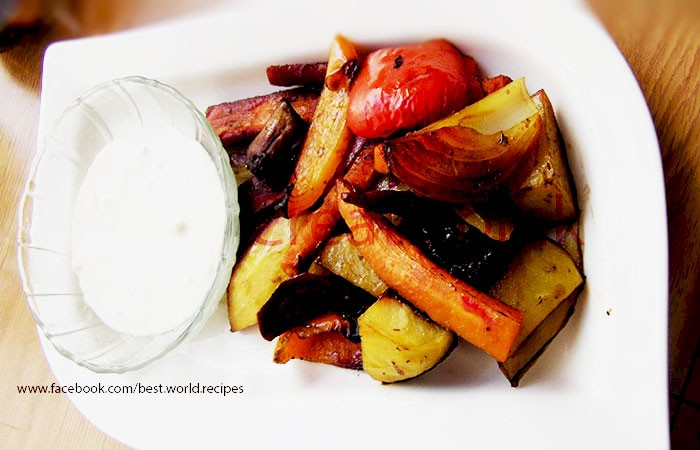 roasted vegetables with garlic dip