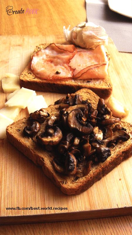 mushrooms and turkey ham