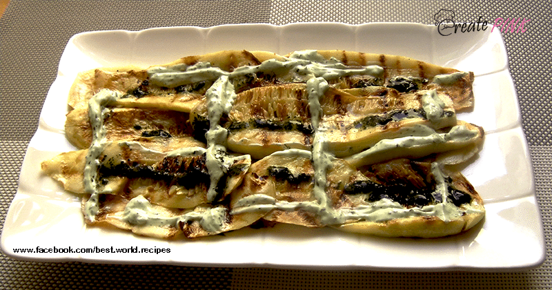 grilled zucchini with mint sauce